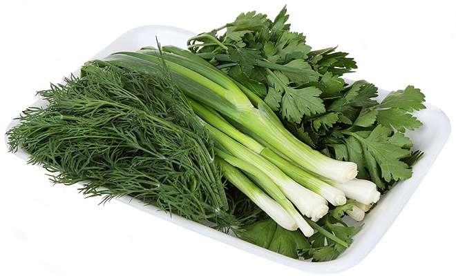 зеленый лук, петрушка, укроп