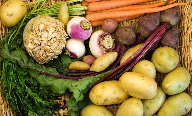 редька с картофелем, морковью и свеклой